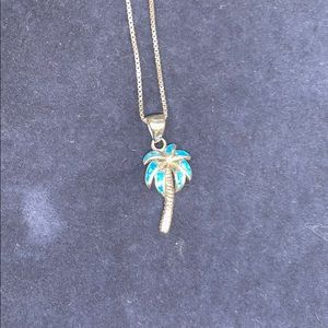 Sterling Silver/Australian Opal Palm Tree Necklace